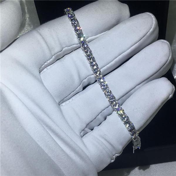 Pulsera de tenis de corte redondo de moda 2019 Circonita cúbica Pulseras de compromiso llenas de oro blanco para mujeres accesorios de boda