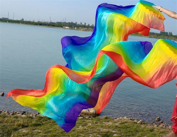 Envío gratis Rainbow Belly Dance Silk Fan Veils Bellydance Costume Accesory Bamboo Long Floading Fans para niños adultos