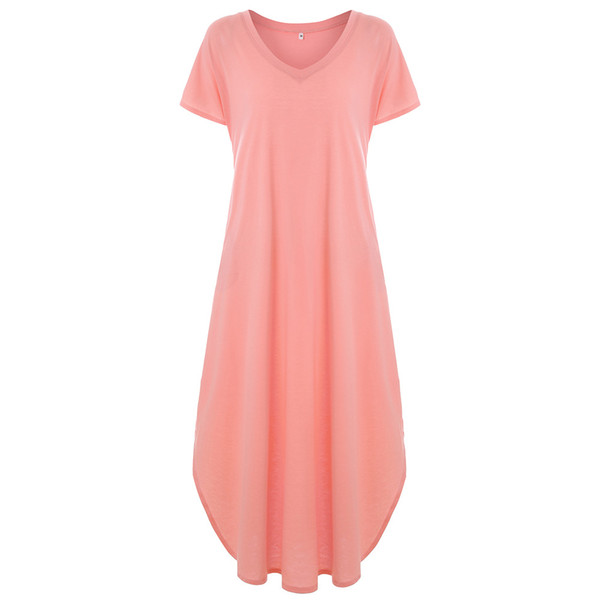 Large Size Women Clothing Loose Short Sleeve V Neck Women Knitted 17 Colors Side Slit Natural Color Women Maxi Long Pockets Dresses
