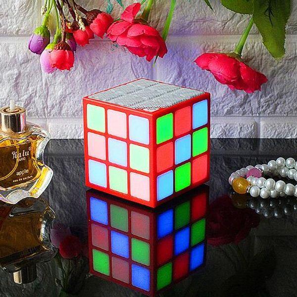 Super Cool Mini Speaker Bluetooth Speakers LED Colored Flash Rubik's Cube Wireless Stereo Speaker FM Radio TF Card USB For iPhone Mobile Pho
