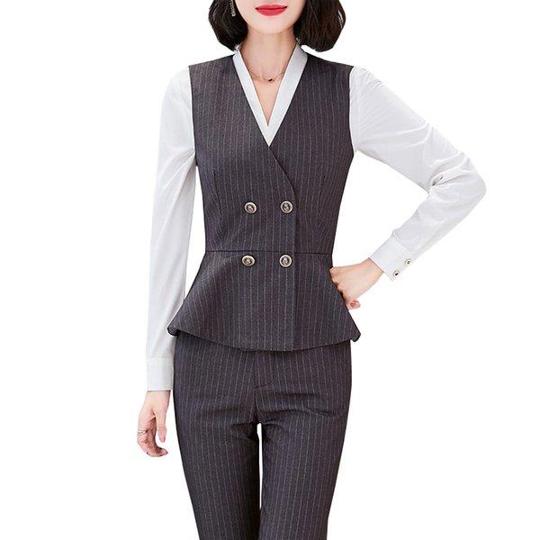 New 2019 Set Elegant Pant Suit Size S-4XL Waistcoat Gray Vest Shirt Pants Women Sleeveless Jacket Blazer Office Lady Work Wear