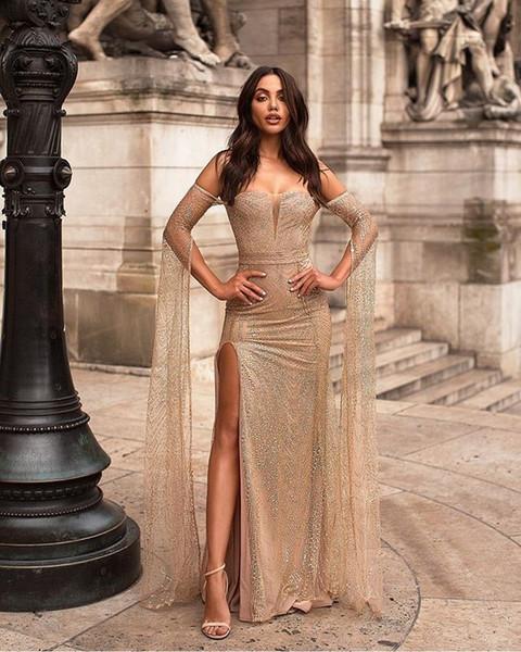 Beaded Off Shoulder Evening Dresses Long Formal Dress 2019 Green Floor Length Split Prom Gowns Vestido De Noche Cocktail Party Dresses