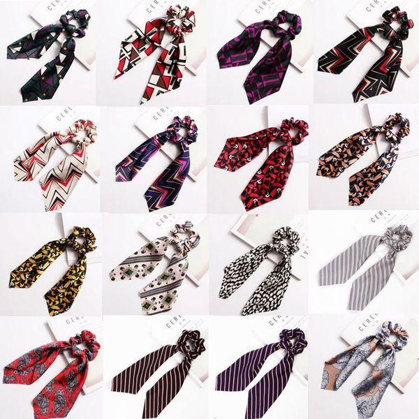 best selling Scrunchie Ponytail Hairband Uniform Satin Scarves Retro Printed Headband Business Silk Scarves Ribbon Headscarf Stewardess Neckerchief C4854