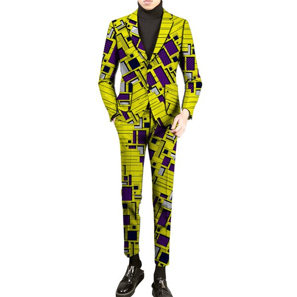 New fashion African clothes men's suits dashiki man printed pant suits for wedding nigerian formal traditional clothing