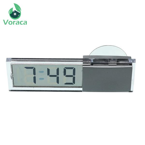Dropshipping Araç Elektronik Dijital Saat Likit Kristal Mini LCD Ekran Emme Kupası ile Ev Dekorasyonu Araba Zamanlayıcı Saatler
