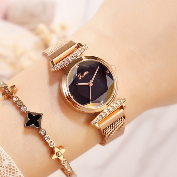 Simple Stylish Women Watch Casual Rose Gold Minimalism Series Magnet Buckle Loop Band Slim Dress Watch For Party Star Girls Gift