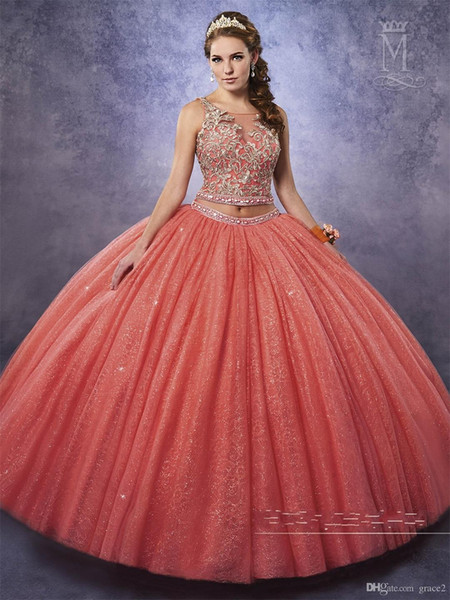 2 Pieces Quinceanera Dresses with Ruffled Skirt Free Bolero Sparking Sweet 15 16 Dress Coral vestidos de 15 anos