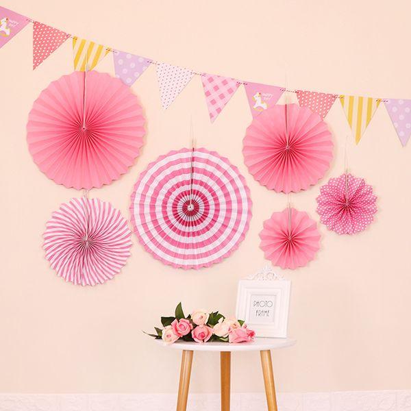 3D circolare ventaglio pieghevole Decorazioni di nozze papery rosa rosso Decorazione ornamenti appesi Mall Display Window Birthday Party Supplies 8 5xlD1