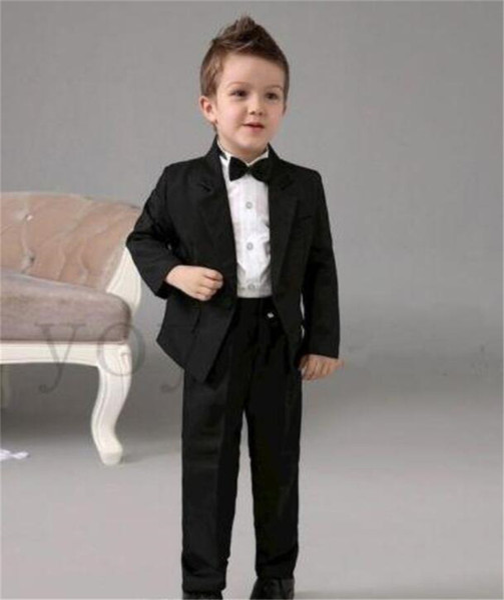 Black Boys Kids Wedding Flower Tuxedos Custom Made 2 Piece Boy Suits formal for wedding classic suit for boy 2018