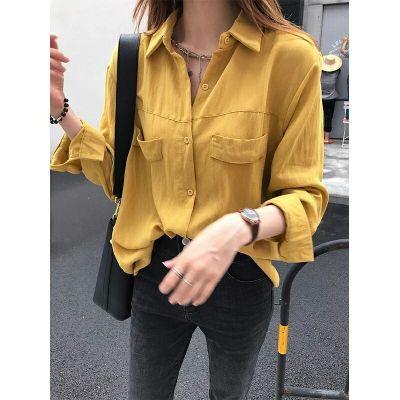 new korean temperament long-sleeved shirt fashion women loose chic shirt solid three color shirt sry xsq