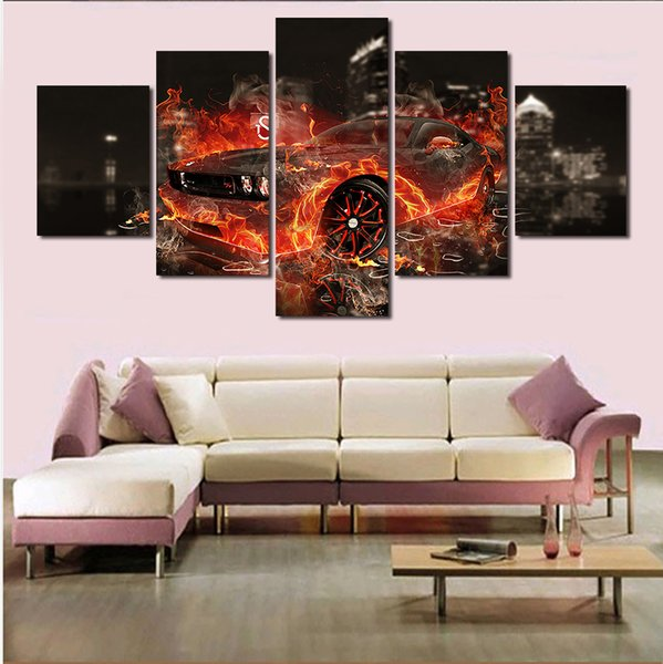5 Pcs Cool Car Large Canvas Modern Printed Painting For Living Room Wall Art Picture Decoration Home Picture Unframed Artworks