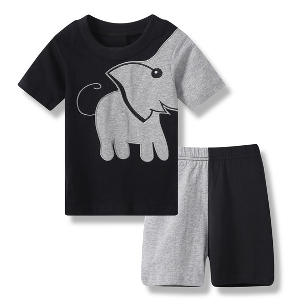 2019 Summer Baby Boy Clothes Suits Patchwork Elephant Black Children Pajamas Cotton T-Shirts Short Pants Pyjamas Grey Sleepwear