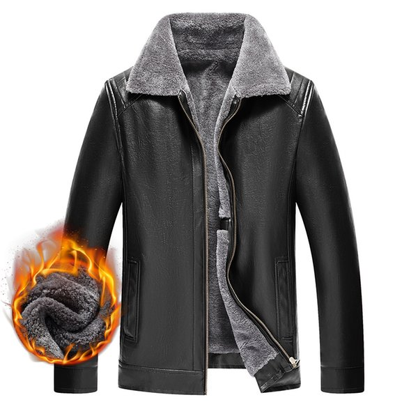 Toison Mode cuir Veste Hiver Homme Automne PU épais chaud Casual Male coupe-vent chaud manteau de fourrure Parka Marque Pardessus Mens