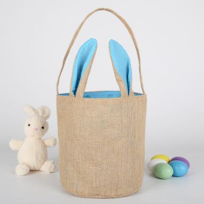 100pcs Easter Bunny Bags Dual Layer Bunny Ears Design Jute Cloth Material Tote Bag Carrying Eggs Gifts for Easter Party