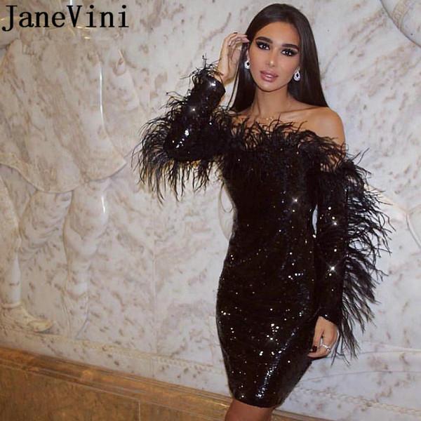 JaneVini Abiti da sera paillettes neri scintillanti con piume Abiti da sera sexy a maniche lunghe Abito da cocktail corto Abito da cerimonia