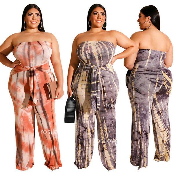 2019 Kadın tulumlar Artı boyutu Geniş bacak pantolon Seksi tulumlar Straplez elbise kemer Eğlence takım elbise Parti elbise rahat sıkı kumaş