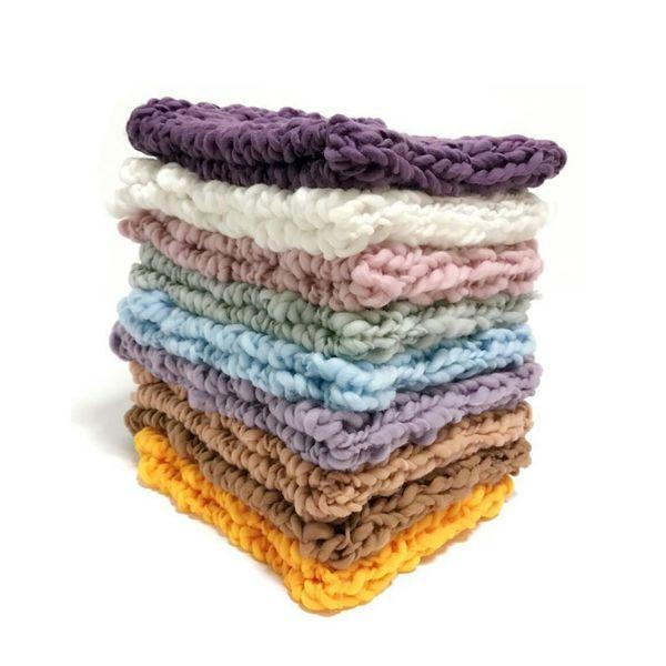Wool Crochet Baby Photo Shoot Basket Accessories For Studio Flokati Newborn Photography Props 55*55cm Q190521