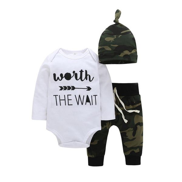 Hot Sale Summer clothing Green Newborn baby Boy T-Shirt+Hat+trousers Infant Baby Boy long sleeve Clothing 3Pcs