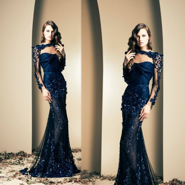 best selling Ziad Nakad 2020 Sexy Celebrity Dress Mermaid See Through Long Sleeves Appliques Evening Gowns Trumpet Prom Dresses Party Wear Navy