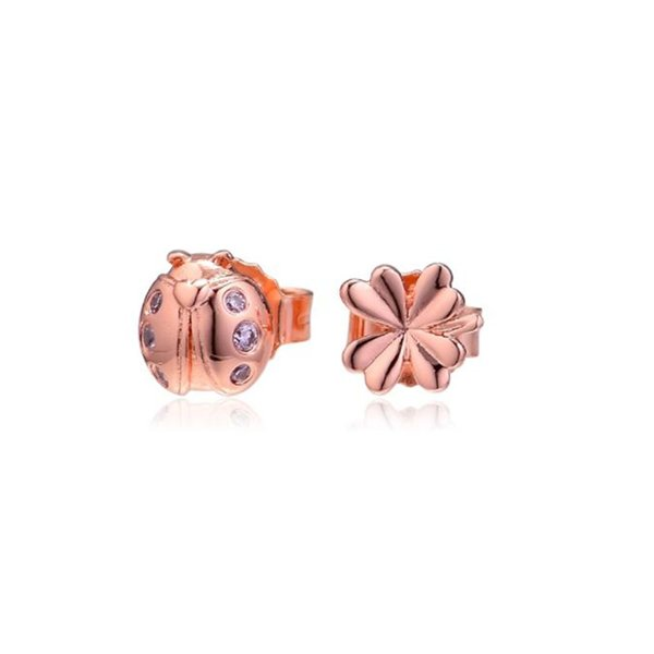 wholesale Four-Leaf Clover & Ladybird Earring Stud Original 925 Sterling Silver Stud With Stone For Women Rose Jewelry