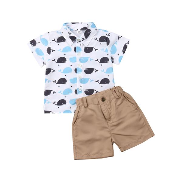Toddler Kids Baby Boy Whale Top T-Shirt Pantaloni Pantaloncini Abiti Abiti Estate
