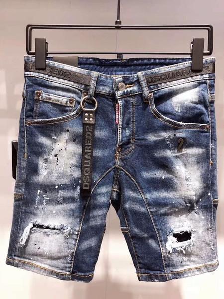 Летние новые джинсовые шорты мужчины d2019 хлопок высокого класса тонкий повседневная мода личности окантовка локомотив A215-1