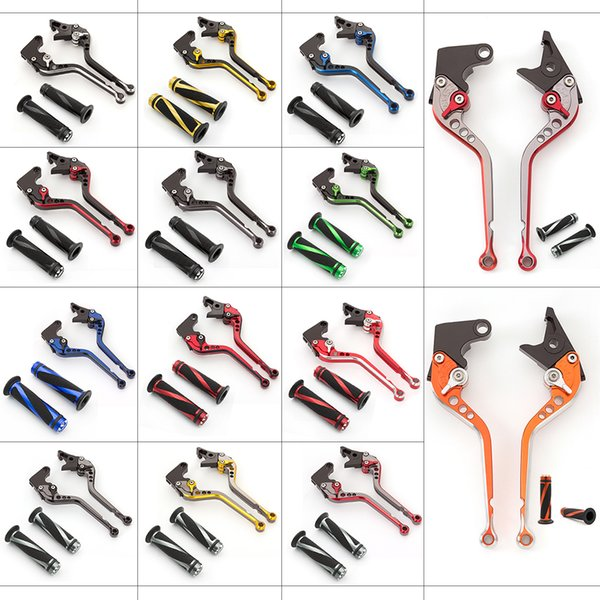best selling For 675 STREET TRIPLE 2008-2016 Short Aluminum Mix Color Adjustable Motorcycle Brake Clutch Lever & Handle Grips Set