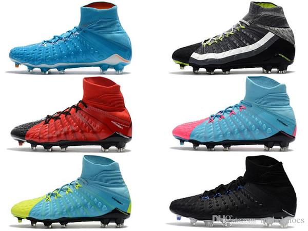 Hypervenom Phantom III Sportswear High DF FG Men Soccer Shoes TOP Selling Football Boots Cheap With Original Box