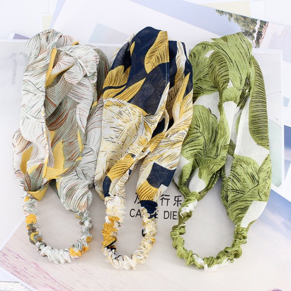 3pcs/lot Japanese Banana Leaf Headbands For Girls Plant Leaves Floral Print Women Hair Bands Adult Beach Summer Hair Accessories