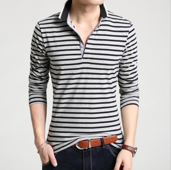 Polo de homem novo, conforto casual T-shirt, casaco de manga comprida de algodão com lapela preta