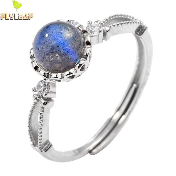 flyleaf simple moonstone real 925 sterling silver rings for women fashion fine jewelry femme open ring party