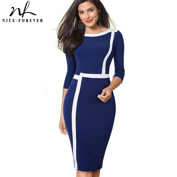 Bonito para siempre Vintage Illusion óptica Colorblock Wearing to Work Vestidos Business Party Bodycon Women Elegant Office Dress B474 Y19071001