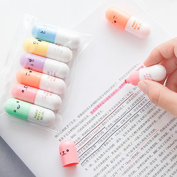 6pcs Pilule Surligneur Rétractable Oblique Stylo Fluorescent De Mode Aquarelle Stylos Mignon Stylo Marqueur Peinture Stylos Papeterie VF1510