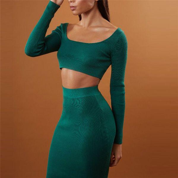 Kadın Kırpma Üstleri + Etekler Iki Parçalı Set Uzun Kollu Kare Yaka Yüksek Bel Nervürlü Etek Takım Elbise Seksi Bodycon Rahat Kulübü Suits
