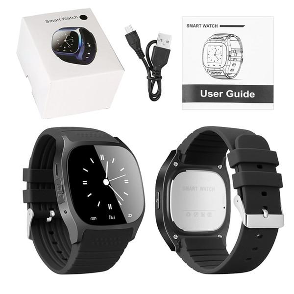 Smartwatches ile bluetooth smart watch android cep telefonu için led ekran ile müzik çalar pedometre için iphone perakende paketinde