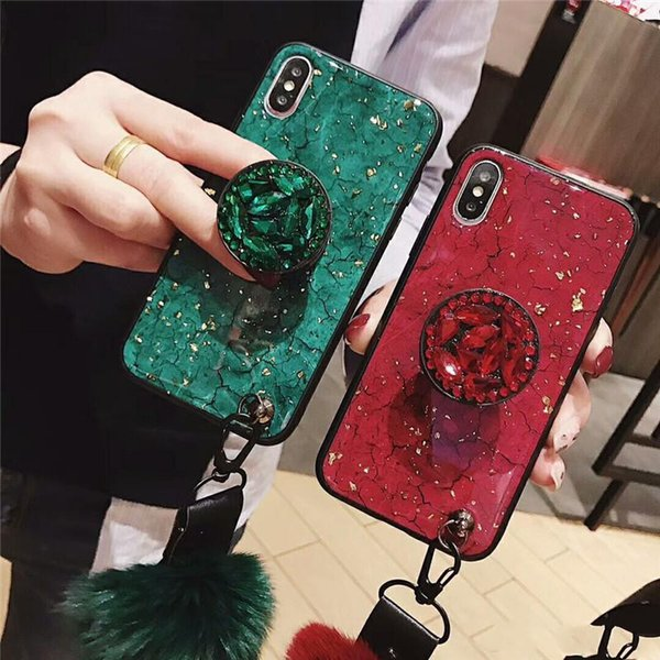 New Luxury Fashion Emerald Shiny Diamond Expandable Airbag Bracket Fox Fur Ball Phone Case For iPhone 6 7 8 plus XR XS MAX Cover