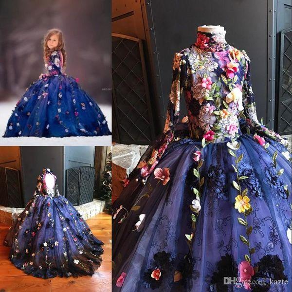 Royal Blue Lace Floral Girls Vestidos del desfile 2019 Flor modesta hecha a mano Cuello alto Manga larga Princesa pequeña ocasión formal dres
