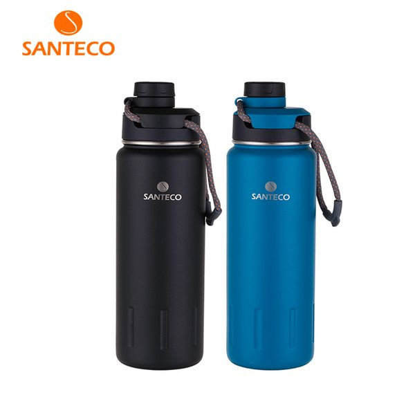 Santeco 710ml Thermos Bottle With Rope Double Wall Stainless Steel Coffee Tea Milk Outdoor Gift Vacuum Bottle Q190430