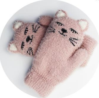Mink-like winter cute cat gloves plus plush and thick gloves for outdoor warmth preservation
