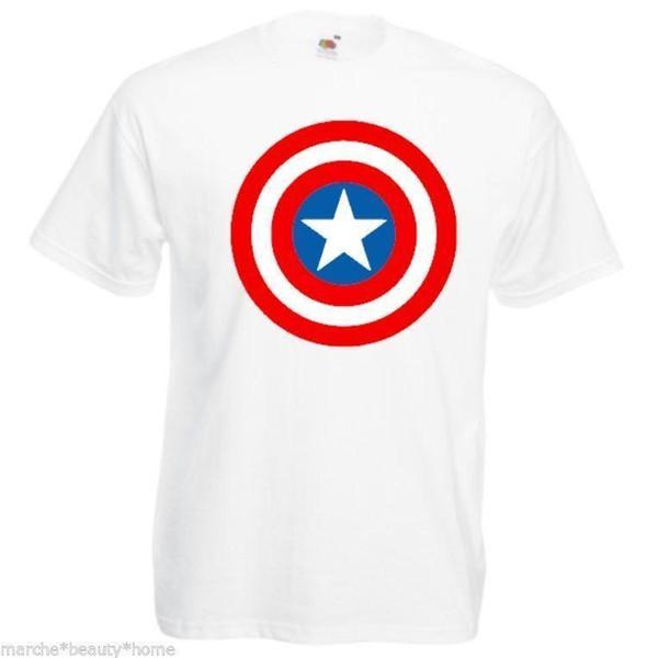 Капитан Америка мужская белая свободная посадка fotl Ман топ логотип фильм новый хлопок XL
