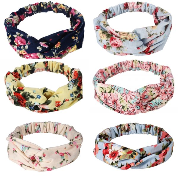 2019 New Running Athletic Travel Floral Turban Headband Cotton Elastic Hairband Boho Headwraps for Women Girls Cute Hair Accessories M293R