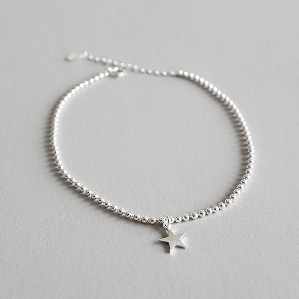 925 Sterling Silver Ankle Foot Bracelet Cheville Brazaletes Pulseras Mujer, Cute Girl Gifts Beads Star Anklets For Women Jewelry T190620