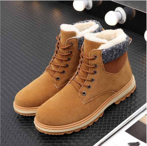 2019 winter men's snow boots Korean version of the trend casual plus velvet men's shoes high to help Martin cotton boots
