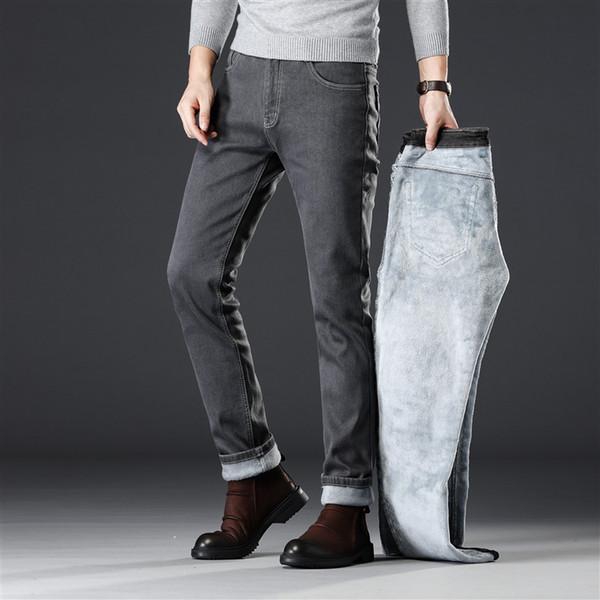 2019 d'hiver Épaissir polaire chaude Hommes Elasticité Slim Straight Jeans classique affaires Smoke velours gris Casual Denim Jeans Cargo