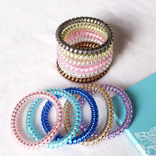 2Pcs Transparent Popular Elastic Hairbands Candy Color Telephone Wire Hair band Hair rope accessories For Women Girls