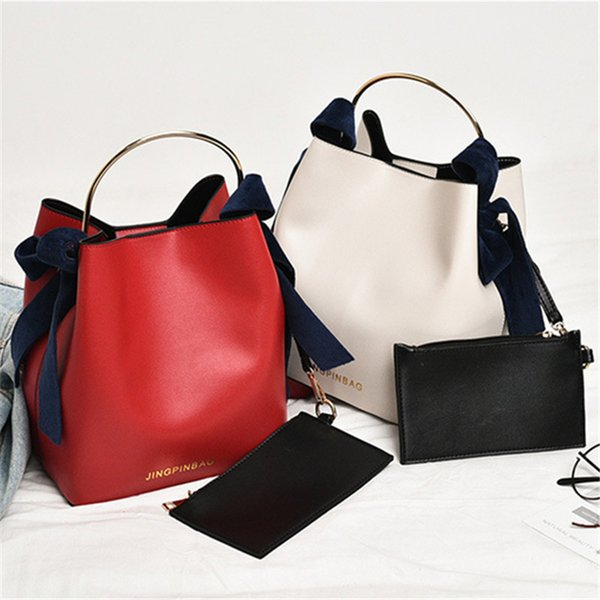 2-in-1 original design bucket handbag Ring metal handle personality bag trend shoulder Messenger bag Coloured