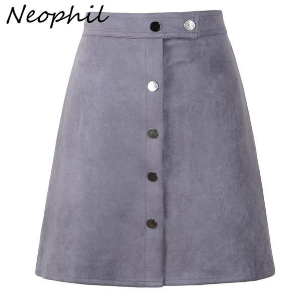 Neophil Women Suede Button Mini Una Línea de Cintura Alta Estilo Vintage Negro Abrigo de Invierno Señoras Falda Corta Tutu Saia S1001 Q190517