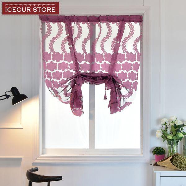 ICECUR Short curtains for kitchen window small valance jacquard fabrics sheer roman curtain panel tulle window treatment