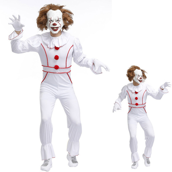 Mens Vintage Killer Evil Horror Film Clown Libro Film Halloween Fancy Dress Costume Outfit MS4461