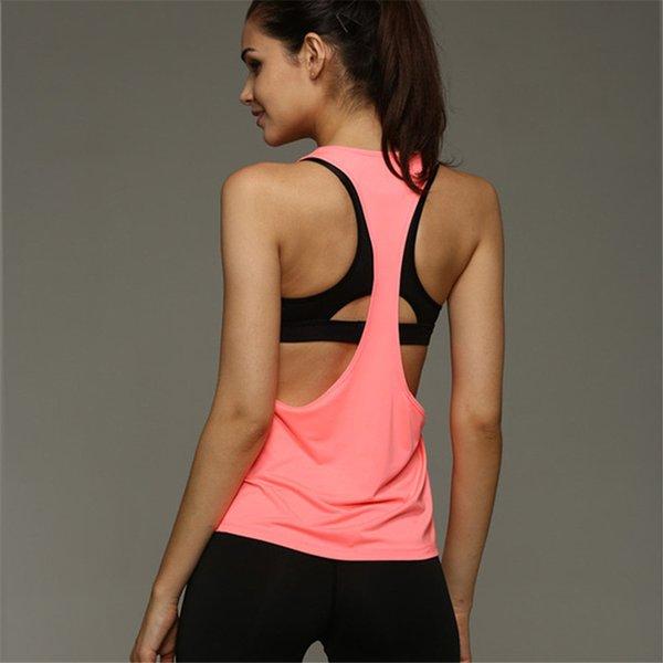 Популярная Stretch рукавов дышащей спортивной одежды для женщин Gym Сплошной цвет Быстрый сухой Hollow Фитнес Открытый Running Vest
